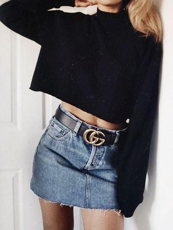Black crop blouse and mini denim skirt - LadyStyle