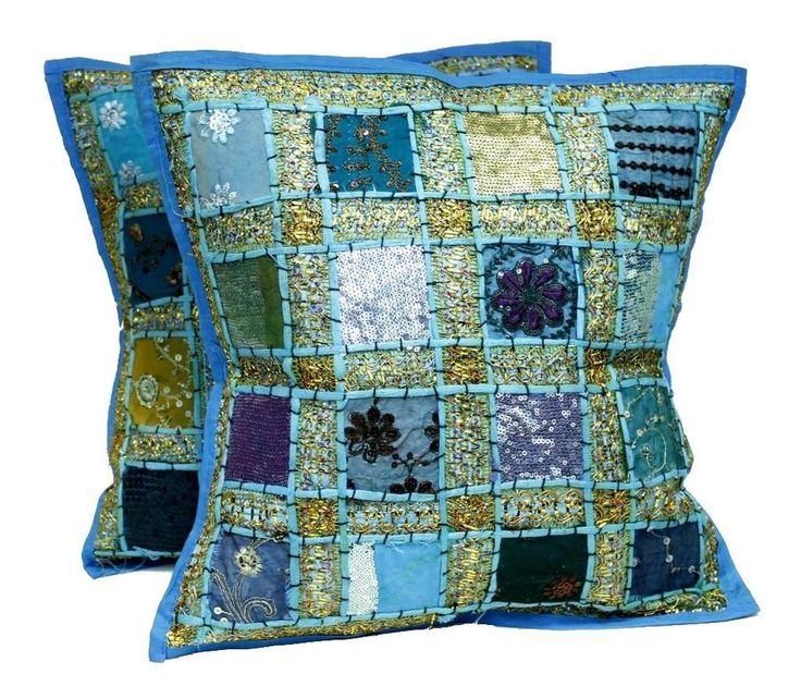 2 pieces of Indian Saree patch work cushion cover pillow set Vintage cushion  #Handmade