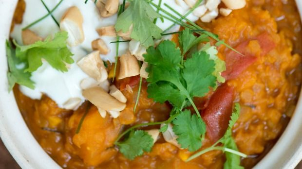 Nadia's delicious butternut and kaffir lime curry, full of fragrant herbs and warming spices.