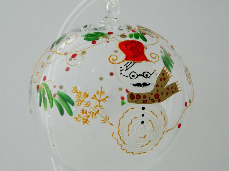 Hand painted glass Christmas ball decorated with a white snowman.  www.handmadesister.blogspot.com