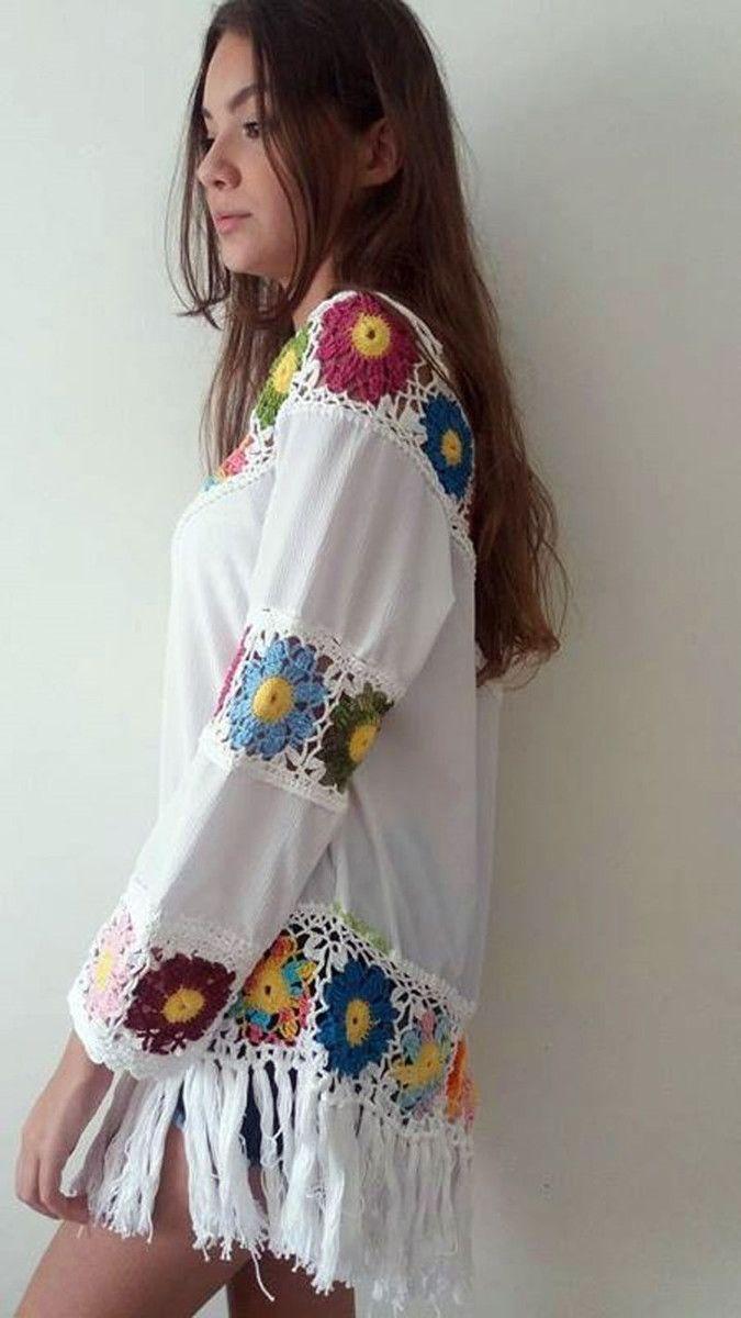 Linda blusa ou saída de praia , crochê e tecido crepe com franjas