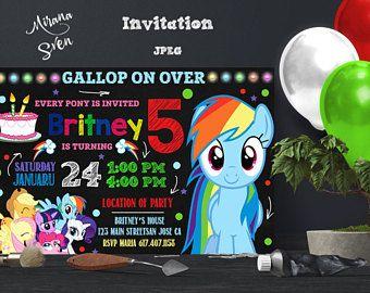 Mi pequeño Pony cumpleaños invitación, mi cumpleaños de pequeño Pony, mi invitación de Pony pequeño, mi pequeña fiesta de Pony, My Little Pony
