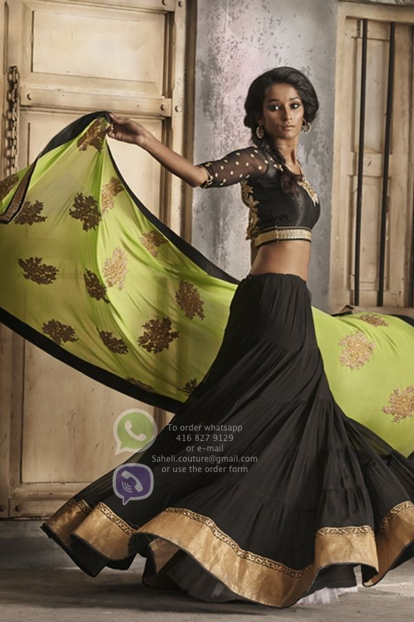 New collection of #Lengha and #sarees see more at www.facebook.com/Couturesaheli  #black #lengha #indianwear #couture