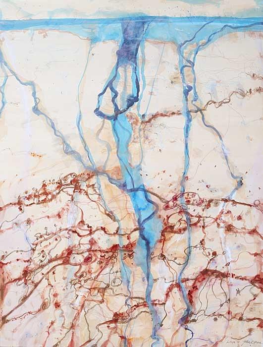 Creación de elementos naturales mediante tinta y agua, que abre su propio camino.