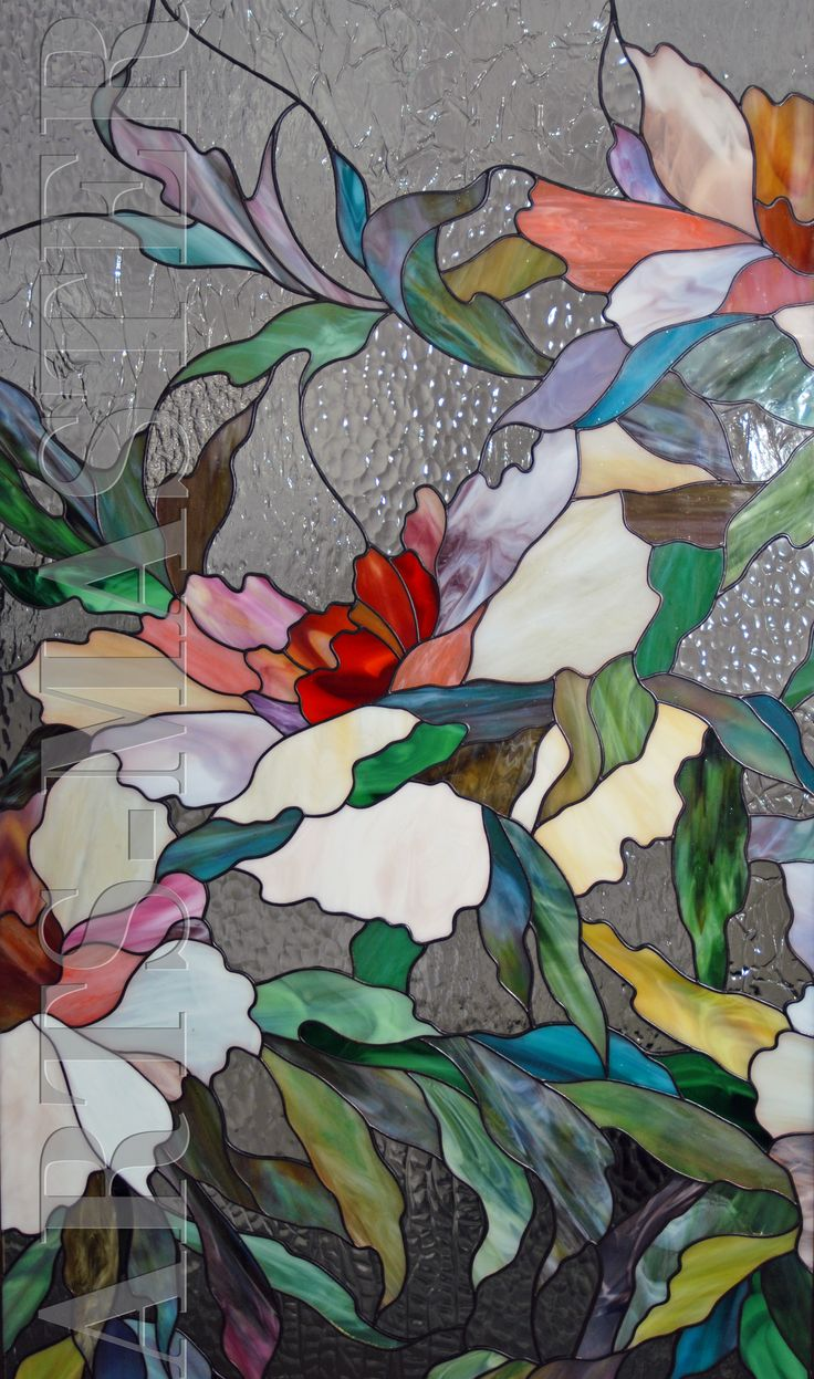 Витраж Пионы   Stained Glass panel feat. large peach, white and red flowers w/foliage ♥•♥•♥