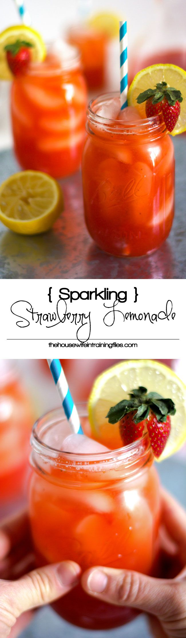 Skinny Sparkling Strawberry Lemonade is healthy, sweet and tart all in one sip! Fresh strawberries mixed with fresh lemonade and a touch of sweetness is the perfect refreshing drink!