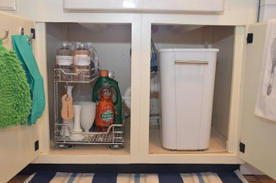 Under Sink Storage -- Slide Out Shelves and Trash Can