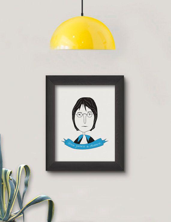 John Lennon Poster   Print Art   Illustration Design   Home Decor   Wall Decoration  The Beatles  Music poster   Quote