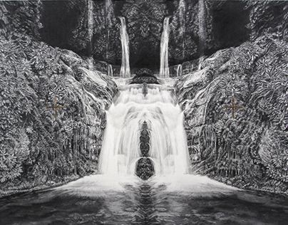 Becc Orszag, Immaculate Landscape V, graphite pencil and gold leaf on paper