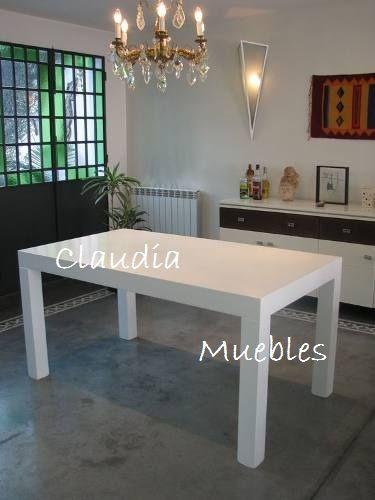 Claudia Muebles - Mesa Asia 080x180 Blanca Laqueada