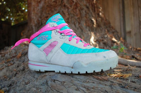 ◄Vintage Womens Size 10 Hi Tec Lady Prism Outdoor Hiker Hiking Mountaineering Neon 90s Sneakers High Tops Bootie Boot Shoes►  Size: Womens size 10  Color: