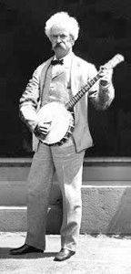 Mark Twain and his banjo. Boss.