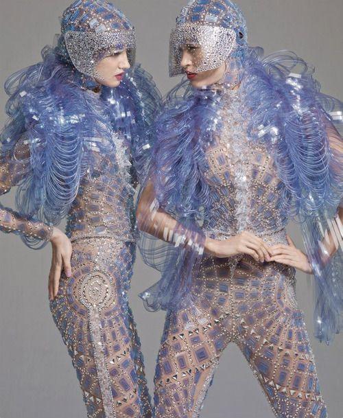 Masha Nagornyuk and Olga Mach in Michael Cinco made with Swarovski Elements, photographed by Standa Merhout for Harper's Bazaar Arabia 2012 Calendar.