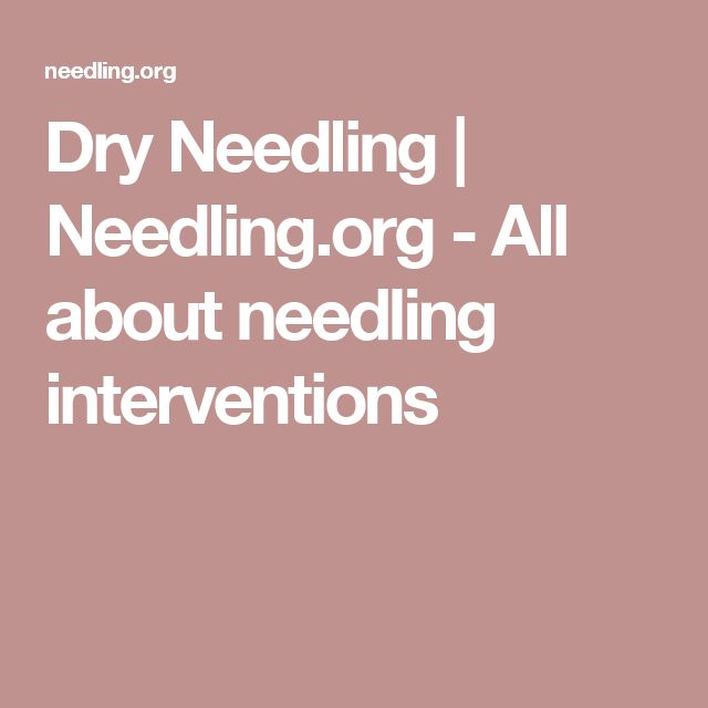 Dry Needling   Needling.org - All about needling interventions