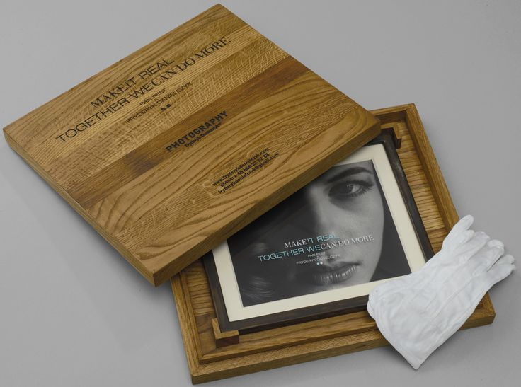 TOGETHER WE CAN DO MORE MAKE IT REAL  The work is protected by a box (41cm x 37cm x 5,5cm) made of oak wood, 8-12% humidity. It is finished off with matt oil made with natural Chinese oils. The title is lasered on the front of the box and the letters are filled with liquid asphalt. Each photograph is wrapped in clear plastic. The set is complete with cotton gloves.  www.fryderykdanielczyk.com