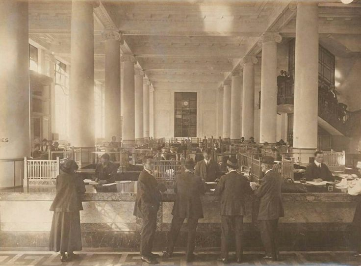Interior of the main branch of the Commonwealth Bank at Martin Place,Sydney in 1930.