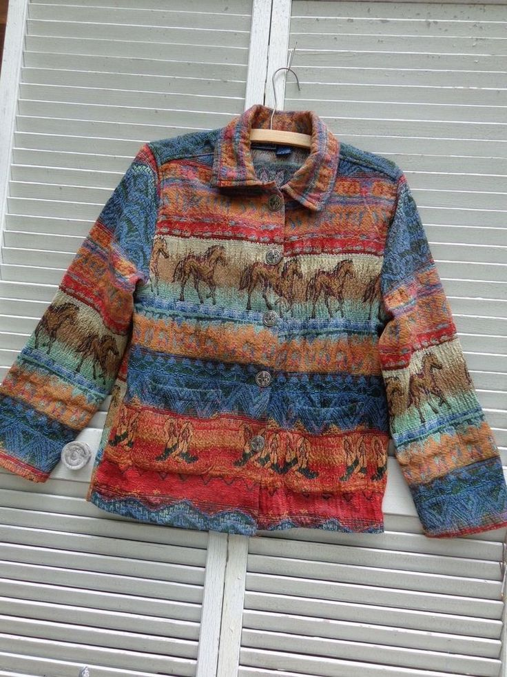 Jacket Coat Jane Ashley Small Southwesten Rustic Tapestry MultiColor Excellent #JaneAshley #BasicJacket