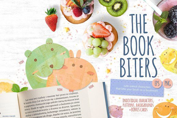 The Book Biters + bonus cards by Euonia Meraki on @creativemarket