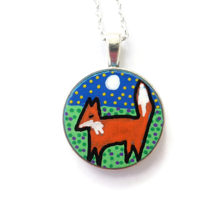 Fox Necklace, Hand Painted Jewellery, Woodland Animal, Nature jewelry, Gifts For Her, Christmas Jewelry Gift For Her, Handmade Jewelry by Larryware on Etsy