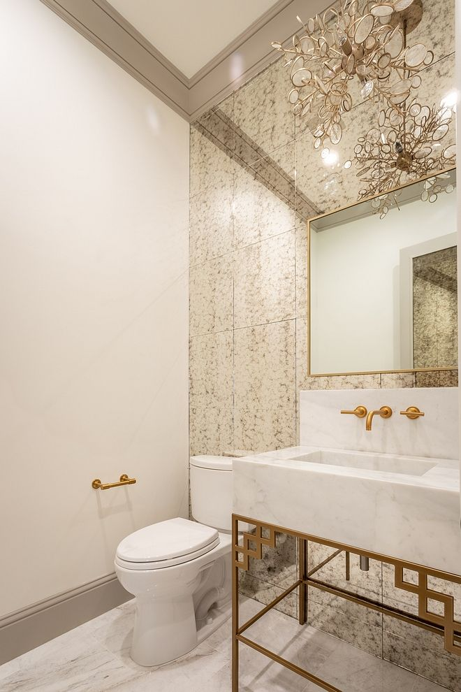 Powder Room Glamorous Powder Room With Antique Mirror Tile Wall Tile Brass And Marble Modern Master Bathroom Mirror Wall Bathroom Modern Farmhouse Powder Room