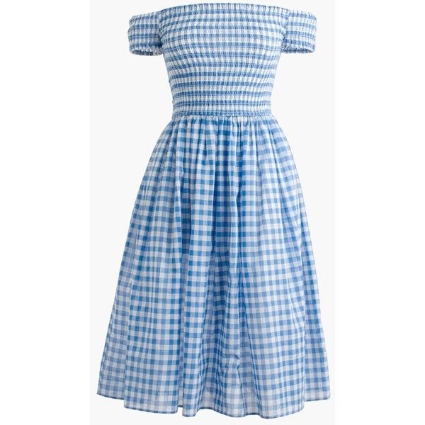 J.Crew Smocked Off-The-Shoulder Gingham Beach Dress (£57) ❤ liked on Polyvore featuring dresses, vestidos, over the knee dresses, slim fit dress, off shoulder dress, blue gingham dress and smocked dresses
