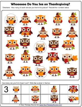 Thanksgiving Visual Discrimination Activity Free Printable  - repinned by…