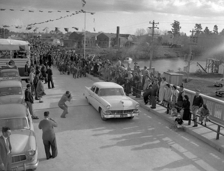 1958 - First car across the bridge at the official opening of Mitchell River Bridge Bairnsdale Victoria.