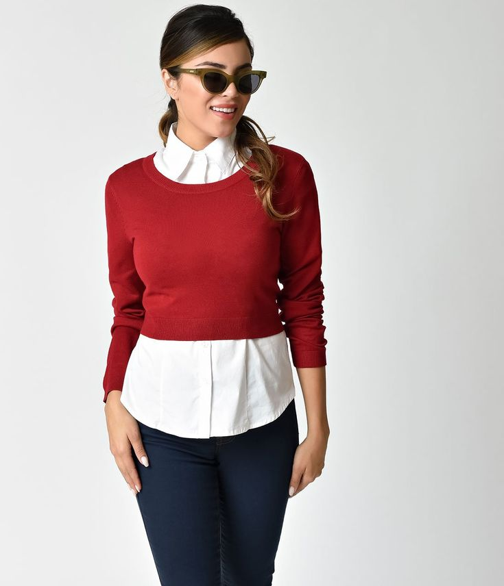 Retro Style Red Long Sleeve Cropped Knit Sweater – Unique ...