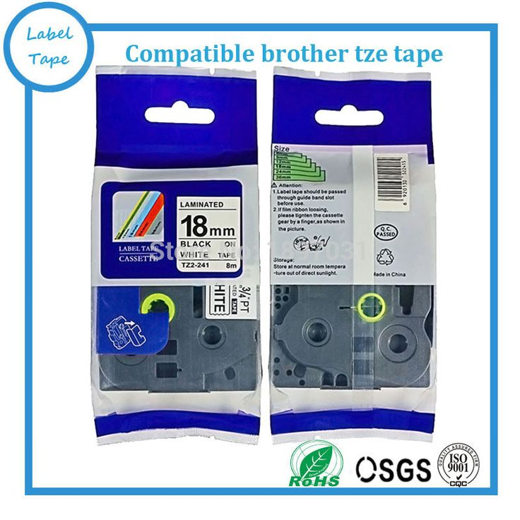 5PK free shipping Brother label tape 18mm black on white tze label tape tze-241 tze 241 tze241 for P-touch printer