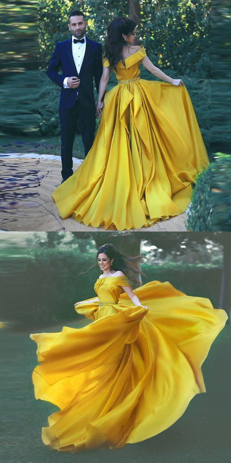 Off the shoulder 2018 fashions Prom dresses Formal Dress 2018 Yellow Prom Dresses Sexy Summer Evening Gowns