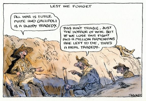ANZAC AND THE ARMENIANS GENOCIDE BY TURKEY. Cartoon by JOHN SPOONER
