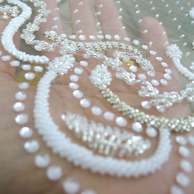 Good morning... A handful of bridal beading   #embroidery #design #tambour…
