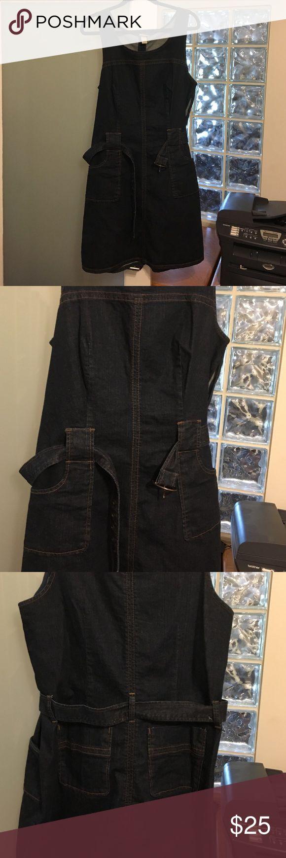 Dark Denim dress by Venizia Dark denim dress by Venezia.  Pocket details on front and back.  Belted.  Size 14.  Stretch denim.  Size 14.  Worn once. Venizia Dresses Mini