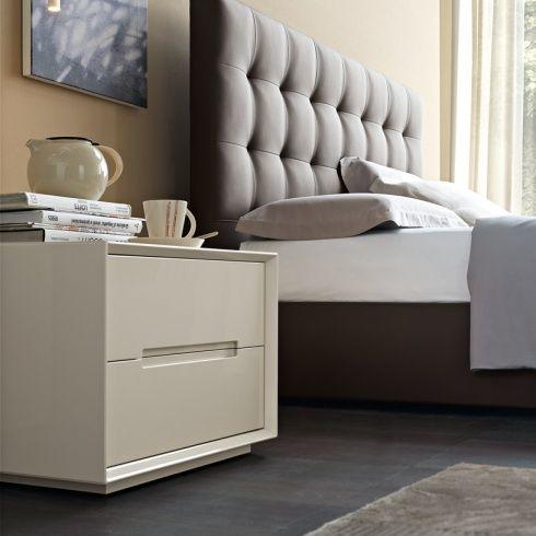Oblique High Gloss Bedside Cabinet