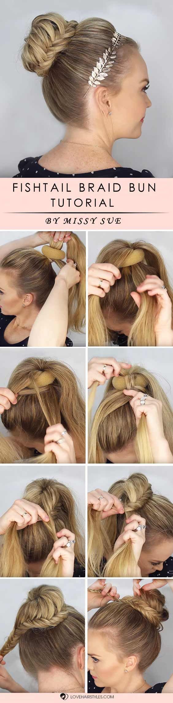 How to braid hair? We all ask this question from time to time, especially when we tried it all already and simple curling and straightening is no fun any longer. We have step by step tutorials that will teach you how to braid your tresses for a super adorable look. Check out our post! Fishtail Braid Bun #braidedhair #howtobraidhair #braidstutorial