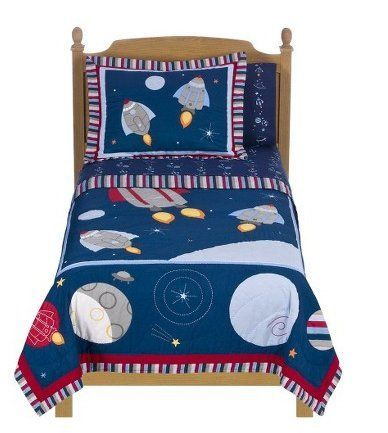 """Circo Blast Off Quilt Set - Full by Circo Blast Off. $149.99. Fiber Content: 100 % Cotton. Includes quilt and 2 shams. Dimensions: 86.0 """" L x 86.0 """" W. Decorative Accents: Printed Design, Applique, Embroidered, Quilt Stitch. Thread Count: 140     Bed Topper Features: Quilted     Number of Pieces: 3     Includes: 2 Shams     Fiber Content: 100 % Cotton     Fill Material: 100 % Cotton     Fill Weight Material: 5 oz     Fabric Treatment: Mercerized     Care and Cleaning: Us..."""