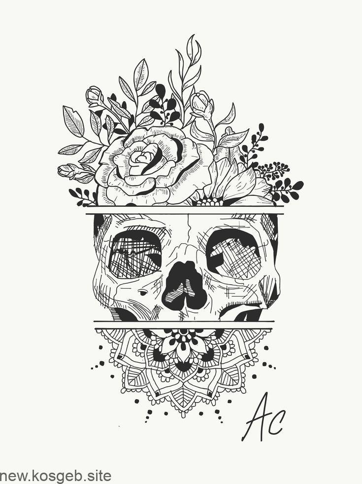Tätowierung erstellen … Schädel … Blumen … Mandala insta: amylquise_draw… – Tattoos