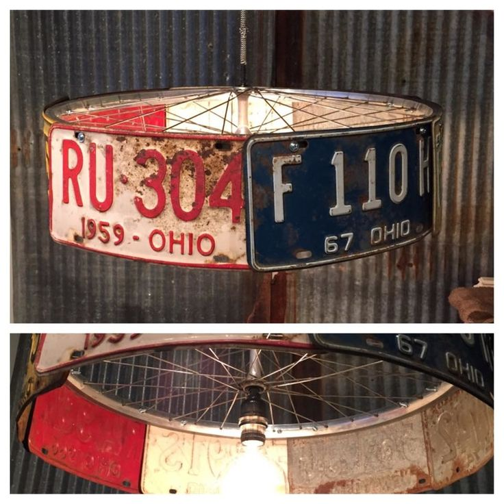 Industrial Pendant Light Vintage Plates And Bike Rim Rust Amp Found Designs Pinterest