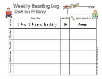 Weekly Reading Log FREEBIE