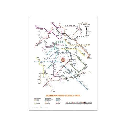 Cosmopolitan metro map print print