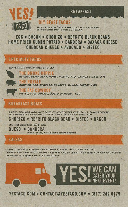 YEAH taco menu design