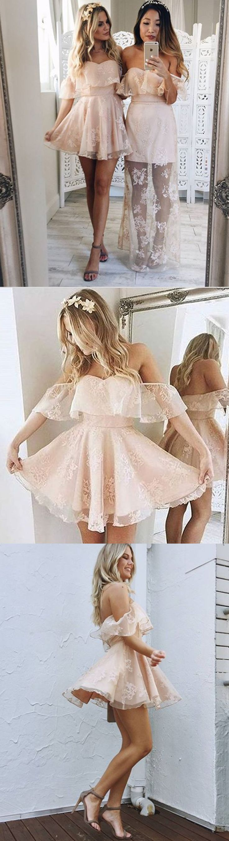 A-Line Homecoming Dresses,Off-the-Shoulder Homecoming Dresses,Short Homecoming Dresses,Pearl Pink Homecoming Dresses,Organza Homecoming Dresses,Appliques Homecoming Dresses,Homecoming Dresses 2017,Graduation Dresses,Dresses For Teens