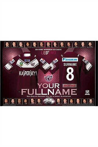Personalised Gifts | Make Unique Gifts Online - Personalised 2014 NRL Manly Sea Eagles Team Jersey Print