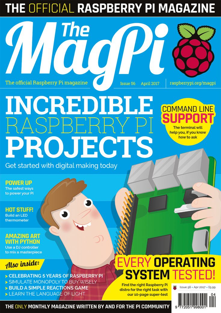 Issue 56 - The MagPi Magazine. Incredible Raspberry Pi projects to get you into digital making! Learn the best and safest ways to power your Raspberry Pi, make your own LED thermometer, make amazing art with Python, and much more!