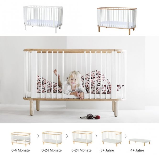 5 In 1 Babybett / Kinderbett FLEXA BABY, Massivholz , Schlupfsprossen,  70x140cm
