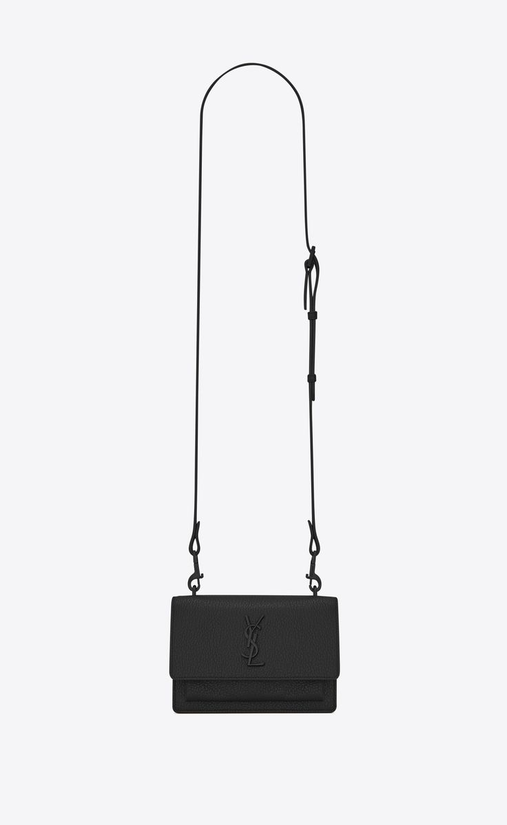 Saint Laurent SUNSET Strap Wallet In Black Grained Leather | YSL.com