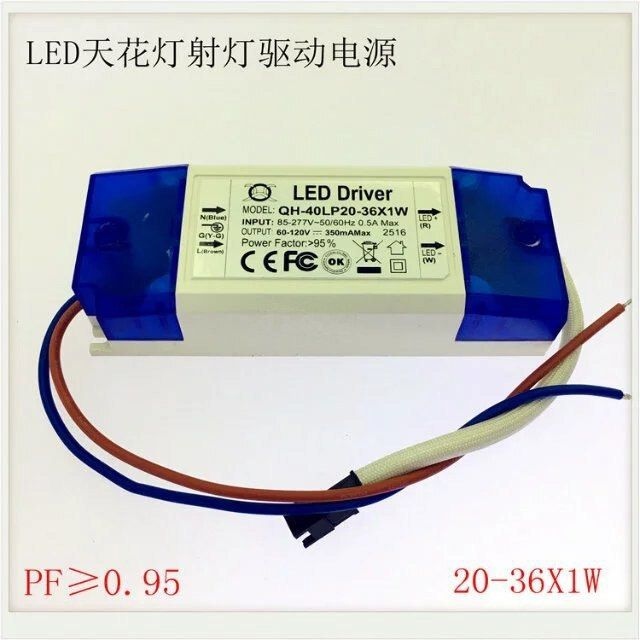 1pc 20w 36wx1 Output350ma Dc60 120v Led Driver Lighting Transformer Power Supply For 20w 25w 30w 36w Downlight Ceiling Spotlight 2 Led Drivers Led Downlights