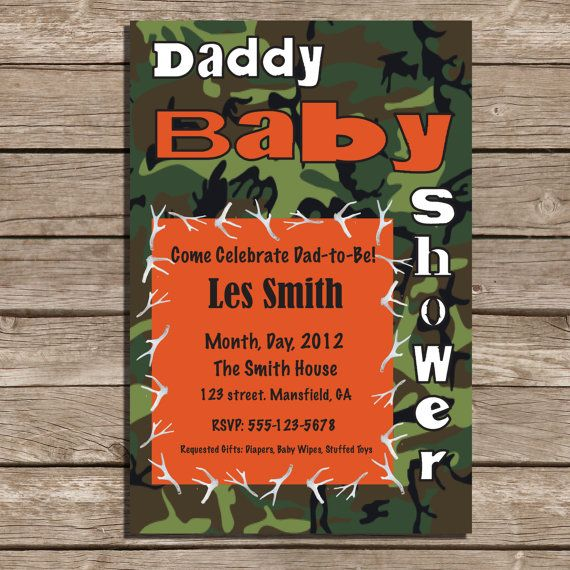 set of 25 camouflage dad baby shower invitations via etsy