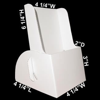 """This cardboard brochure holder accommodates all standard size 4"""" x 9"""" brochures and literature. Featuring a bright white, eye-catching and sturdy anti-tip design, this cardboard brochure holder will not fall over. This low cost tri-fold holder packs a maximum quantity of 300 brochure holders in one carton. 1000s are in stock at all times and ready to ship the same day."""