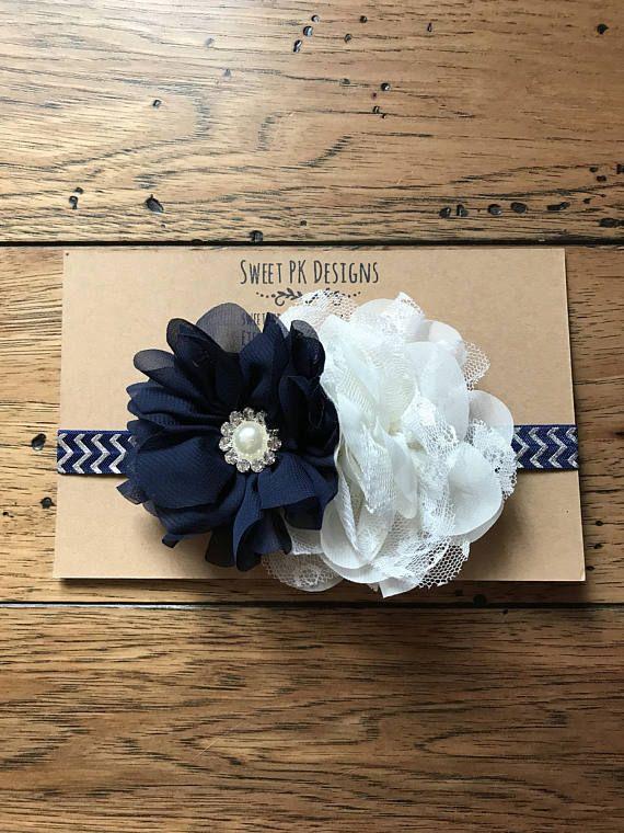 Navy blue and cream headband
